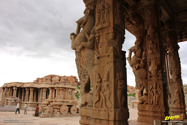 The magnificent Vithala temple pavilion and stone chariot, Hampi
