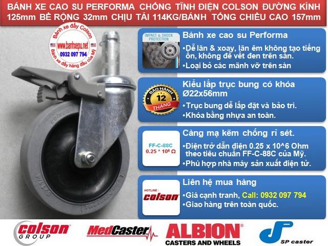 Bánh xe chống tĩnh điện Colson Mỹ trục trơn có khóa phi 125 (5 inch) banhxedaycolson.com