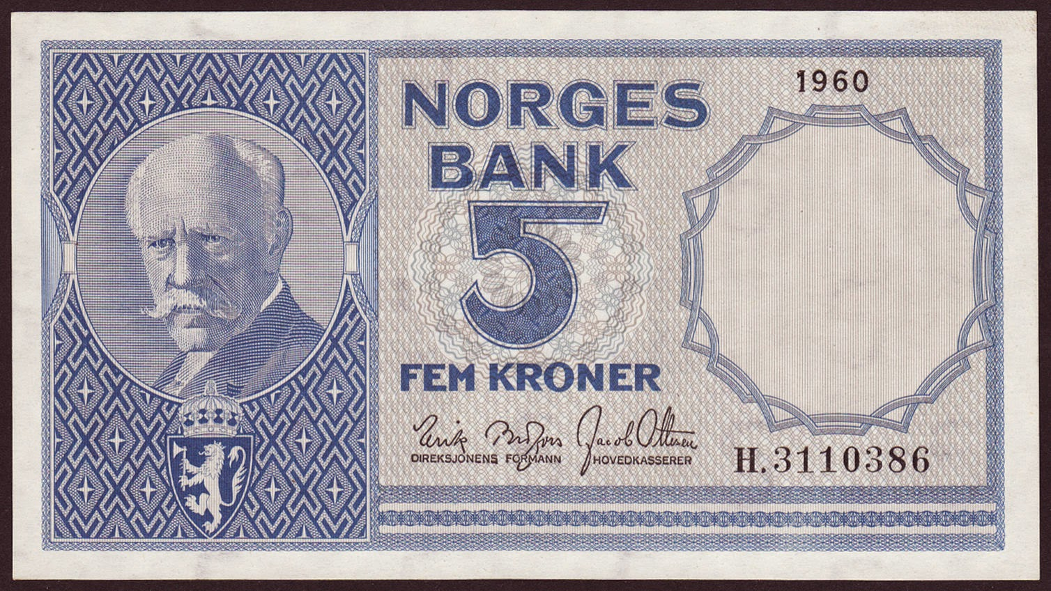 Norway Banknotes 5 Kroner banknote 1960 Fridtjof Nansen