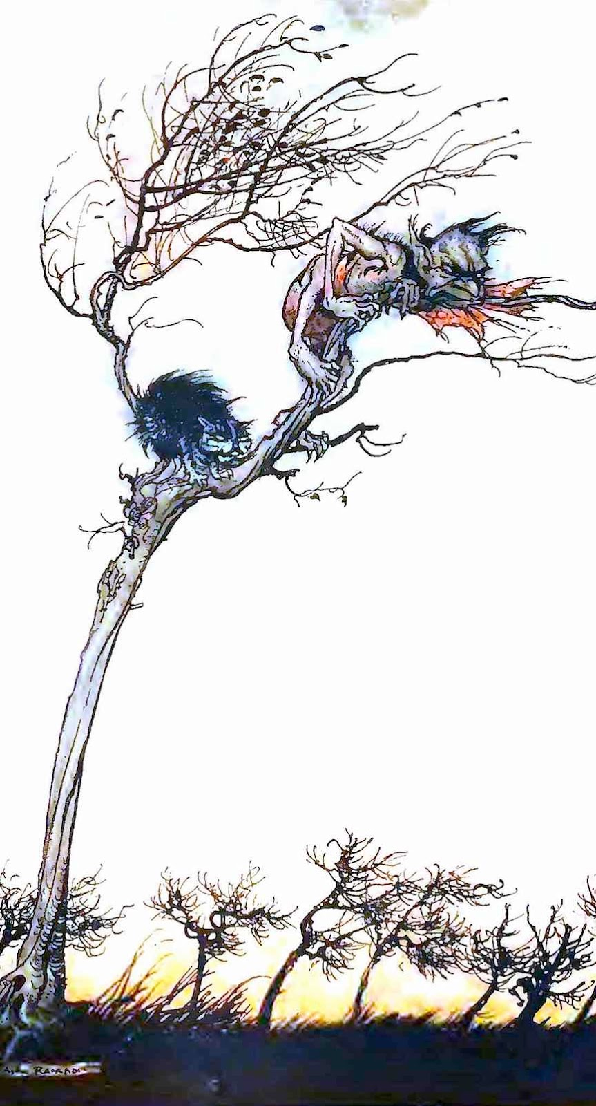 an Arthur Rackham color illustration of a demon and a cat in a tree