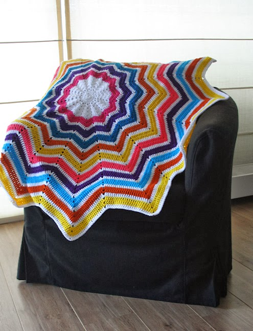 Ripple star blanket - Happy in Red