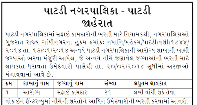Patdi Nagarpalika Recruitment for Sweeper Post - 2018