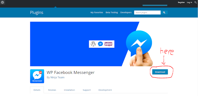 download and install facebook messenger for wordpress