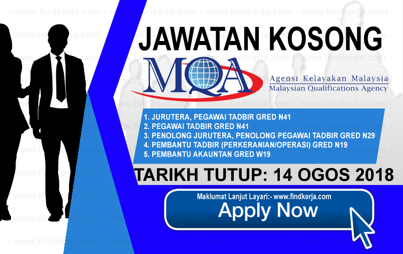 Jawatan Kerja Kosong MQA - Agensi Kelayakan Malaysia logo www.ohjob.info www.findkerja.com ogos 2018
