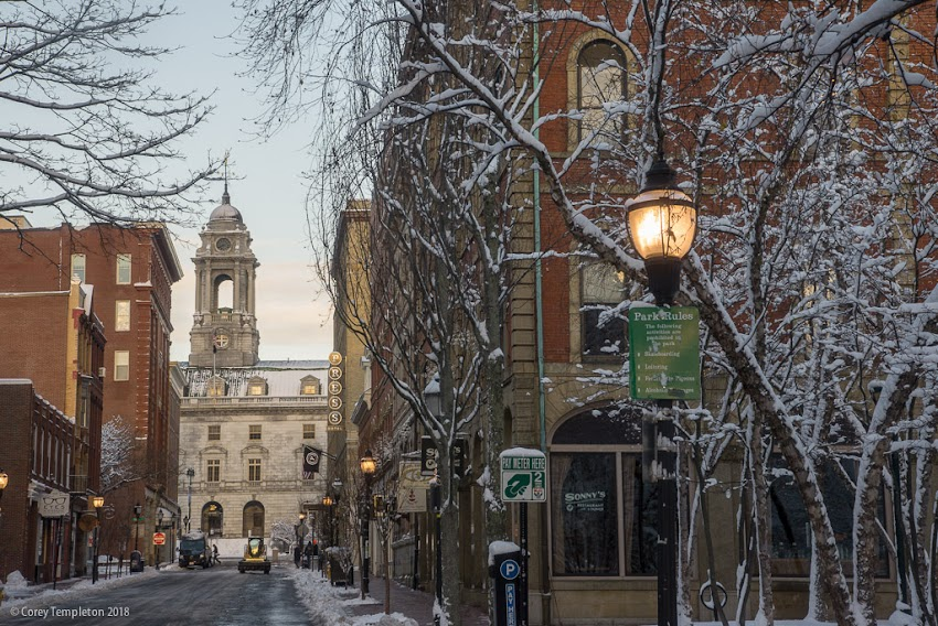 Portland, Maine USA December 2017 photo by Corey Templeton. A recent take on the classic view up Exchange Street towards Portland City Hall.