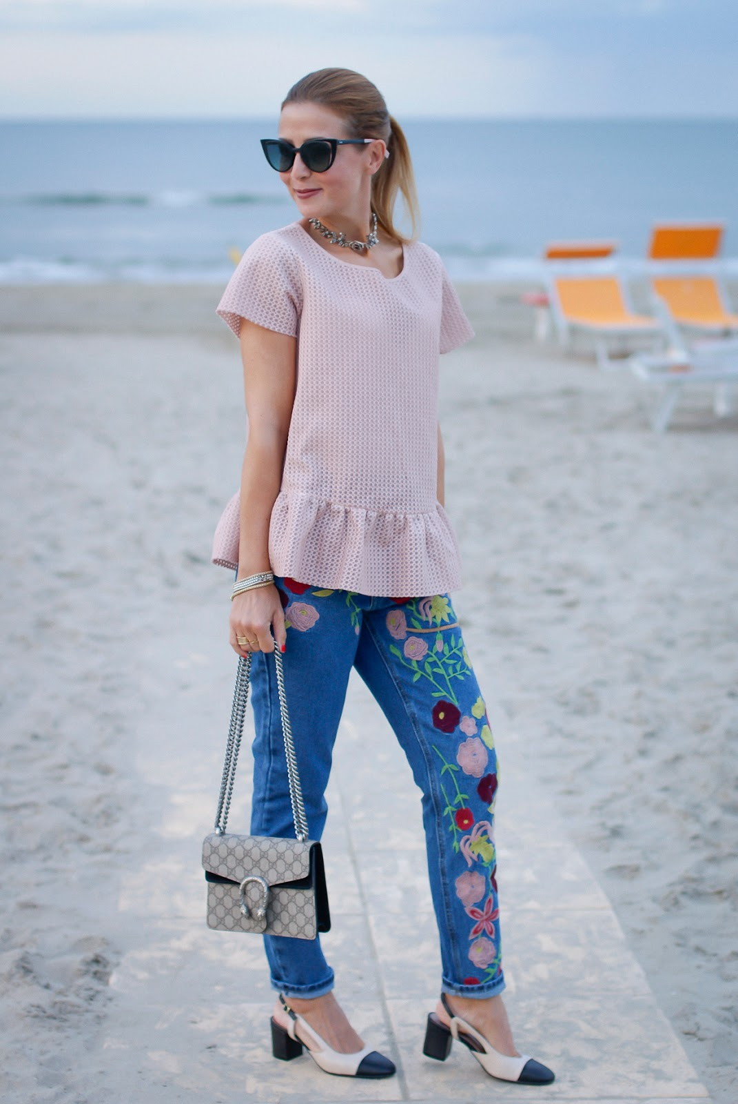 powder pink top and Gucci mini Dionysus bag with chanel granny shoes dupe on Fashion and Cookies fashion blog, fashion blogger style