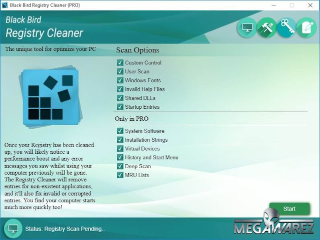 Black Bird Registry Cleaner Pro imagenes