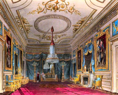 Ante Chamber leading to the Throne Room, Carlton House, from The History of the Royal Residences by WH Pyne (1819)
