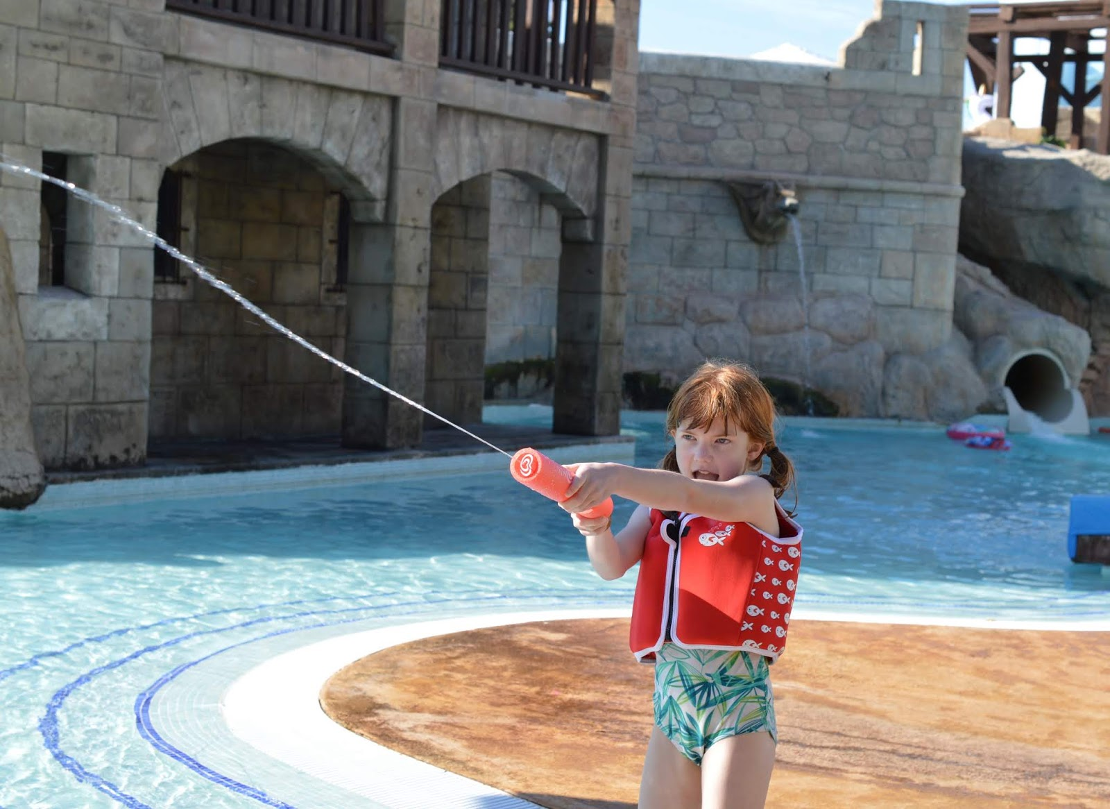 Pirate Swimming Pools and Mermaid Lessons at Pirates Village, Majorca - water fight