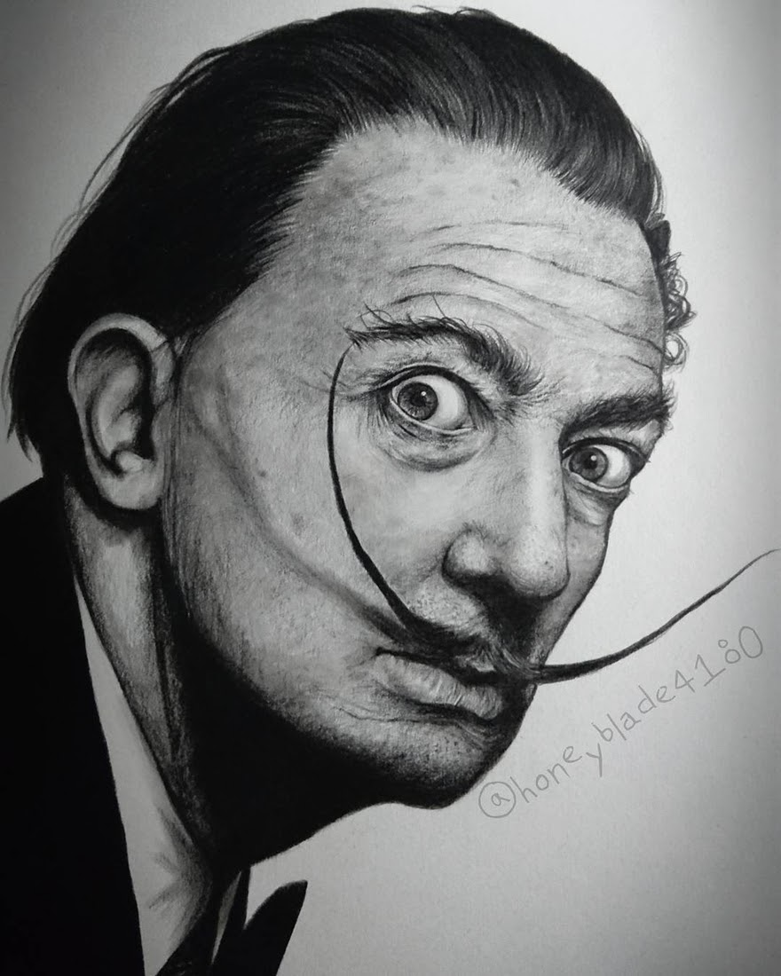 06-Salvador-Dalí-YU Pencil-Portrait-Drawings-of-Celebrities-and-Non-www-designstack-co