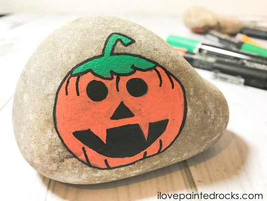Completed halloween pumpkin rock stone