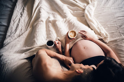 Coffee Maternity Family Self Portraits in Bed by Morning Owl Fine Art Photography San Diego