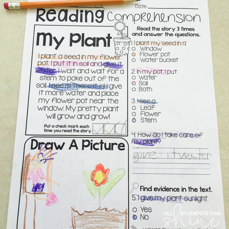 plants reading passages grade one