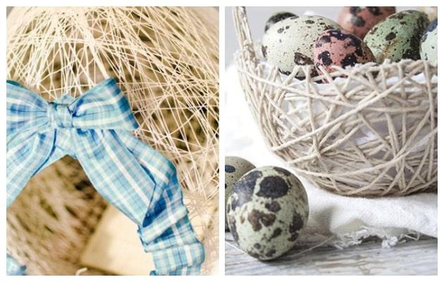 Διακοσμητικά Αυγά-Καλάθια από Σπάγγο-Κλωστή