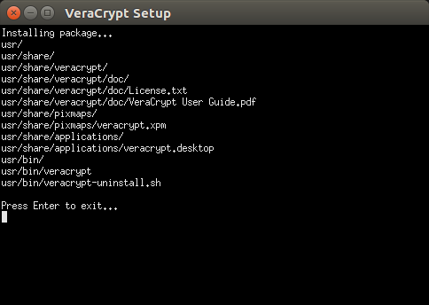 VeraCrypt Installing window