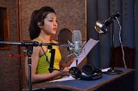 Actress Catherine Tresa Pos during Self Dubbing for Gautham Nanda Movie  0035.JPG