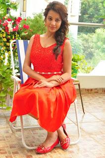 Actress Deeksha Panth Stills in Red Short Dress at Banthi Poola Janaki Press Meet  0106.jpg