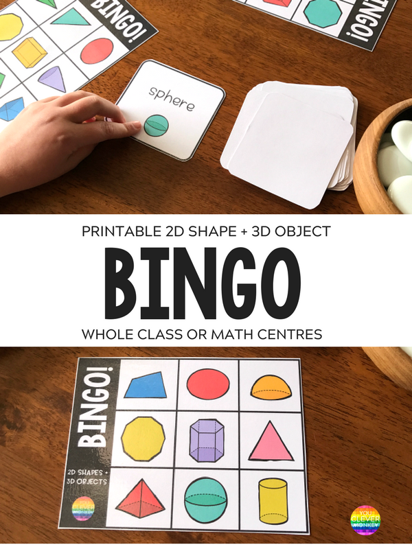 2D Shape + 3D Object Printable BINGO Game | you clever monkey