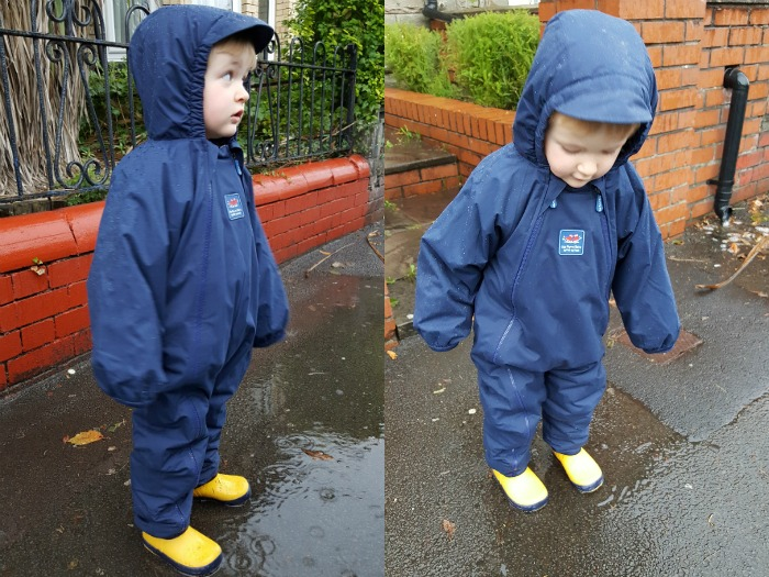 Squidge in his all-in-one in the rain