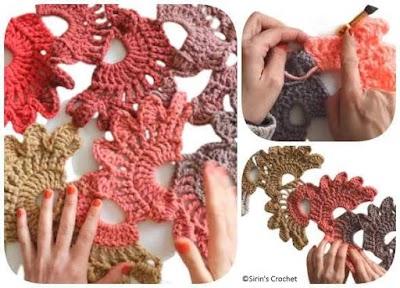 Bufanda crochet con medias flores gigantes