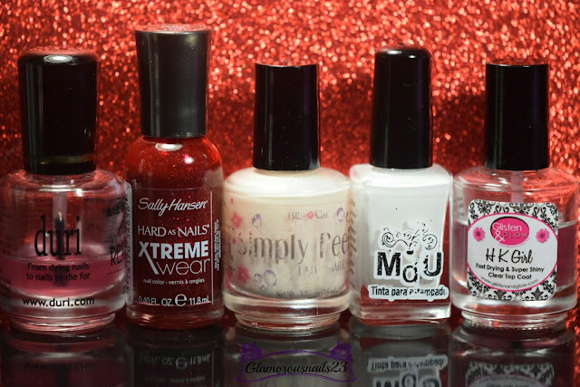 Duri Rejuvacote, Sally Hansen Xtreme Wear Red Carpet, Bliss Kiss Simply Peel Latex Barrier, Mundo De Unas White, Glisten & Glow HK Girl Fast Drying Top Coat
