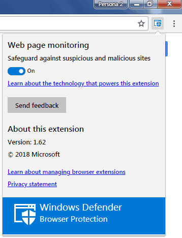Menu gestione Windows Defender Browser Protection estensione Chrome