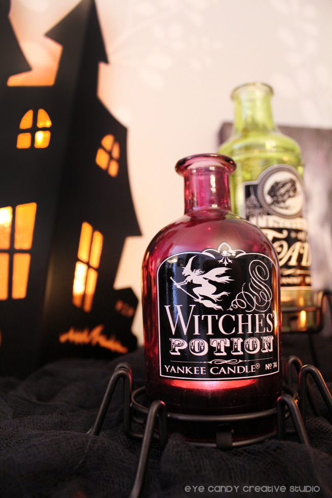 witches potion bottle, bottle tea light holder, glowing haunted house, decor