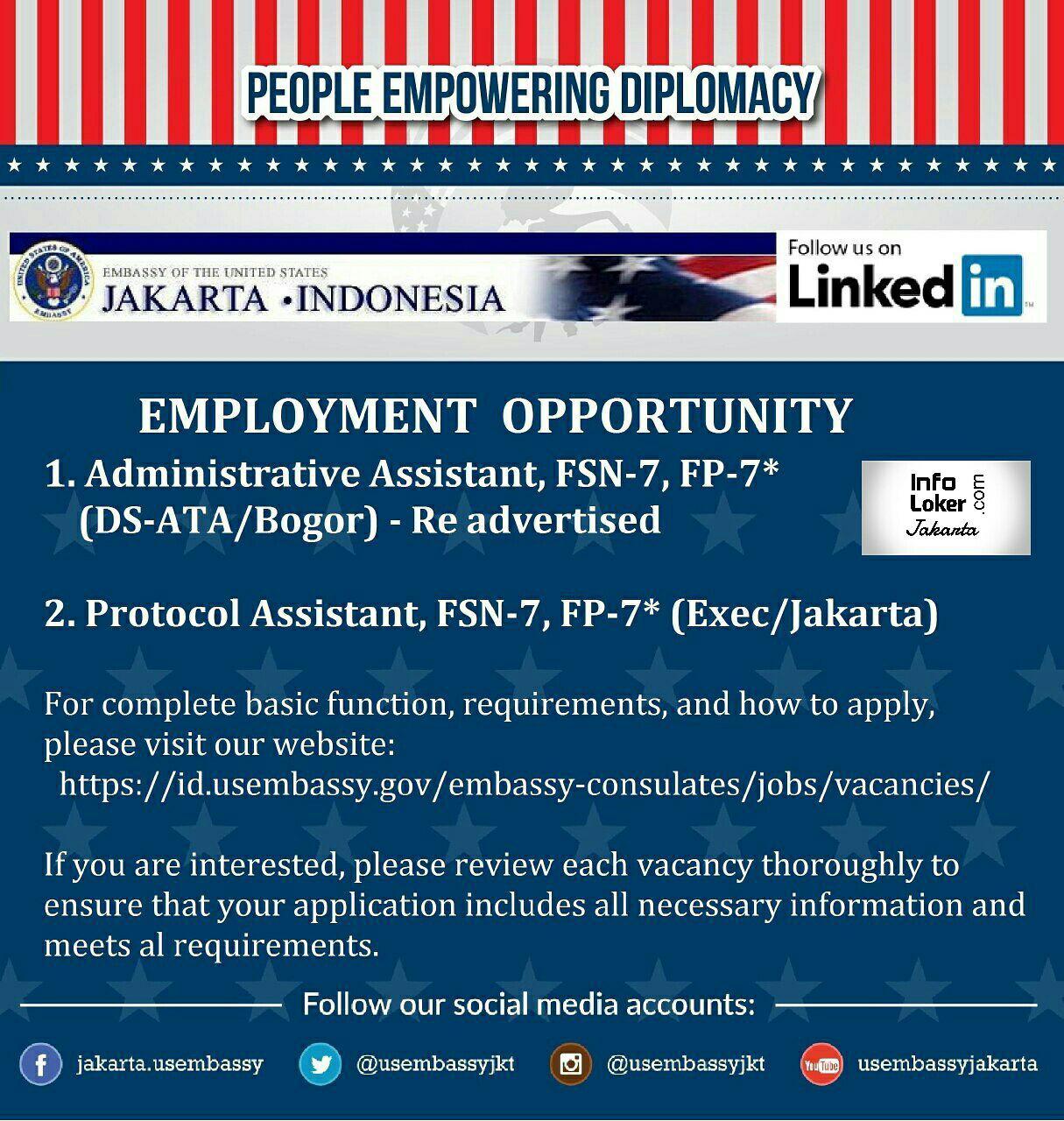 Lowongan Kerja US Embbasy Jakarta