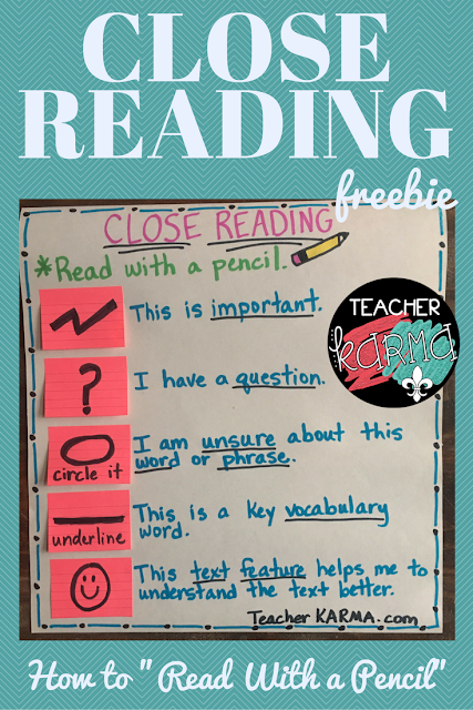 Close Reading Resources and FREE anchor chart. TeacherKARMA.com