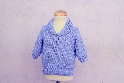 6 - Majovel Crochet Imagen Jersey azul con punto elastico a crochet y ganchillo