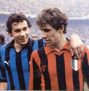 Franco Baresi with his brother Giuseppe (left), who played for Milan's city rivals Internazionale