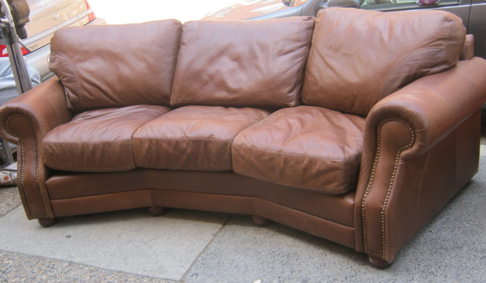 Curved Top Grain Leather Sofa Sold