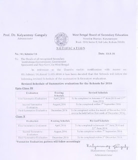 Revised Schedule of Summative Evaluation for Schools, 2016