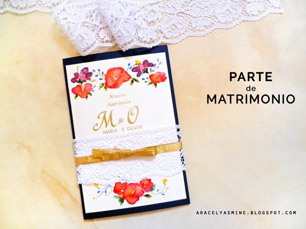 Parte de matrimonio con acuarelas