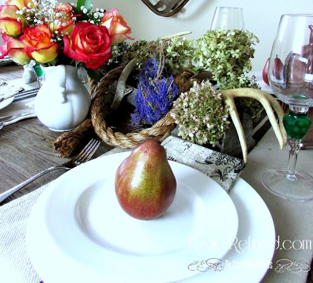 Rustic tablescape using farmhouse items.