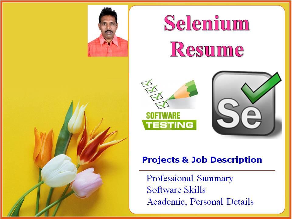 software testing resume selenium tester resume format