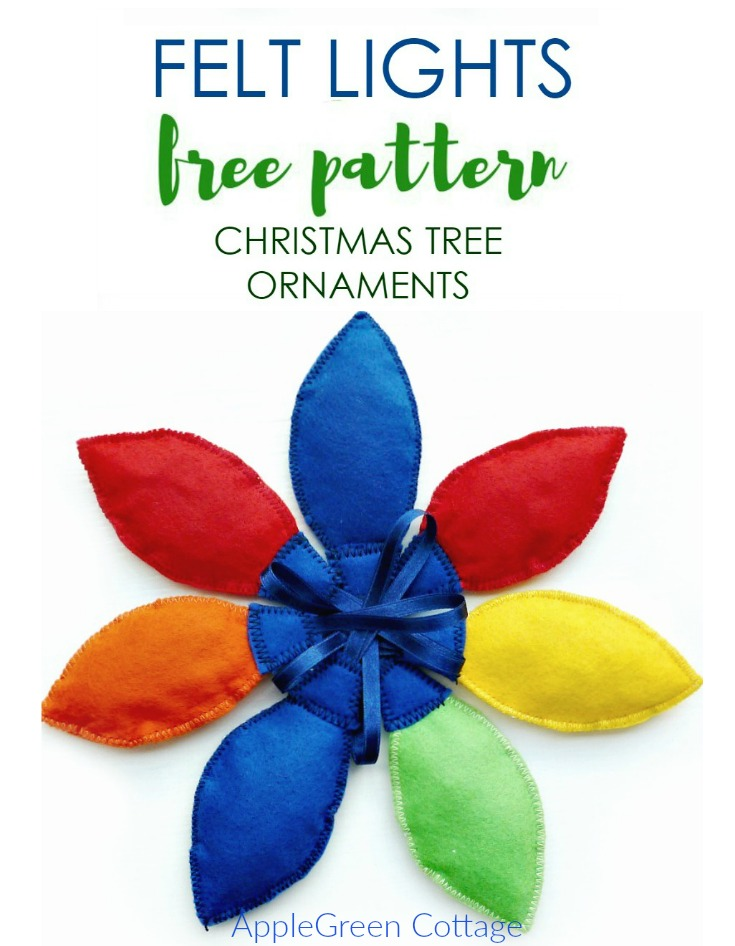 Felt Lights Christmas Tree Ornaments Free Pattern