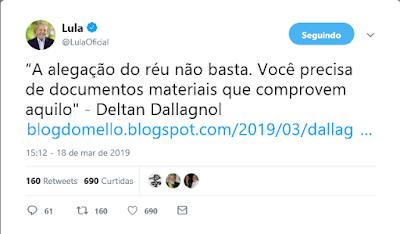 Print de twite do perfil do preidente Lula
