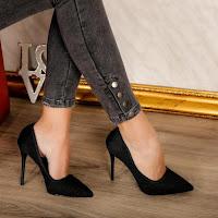 Pantofi de zi eleganti negri cu toc subtire ieftini