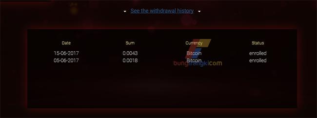 Bukti penarikan/withdrawal dari Vixice