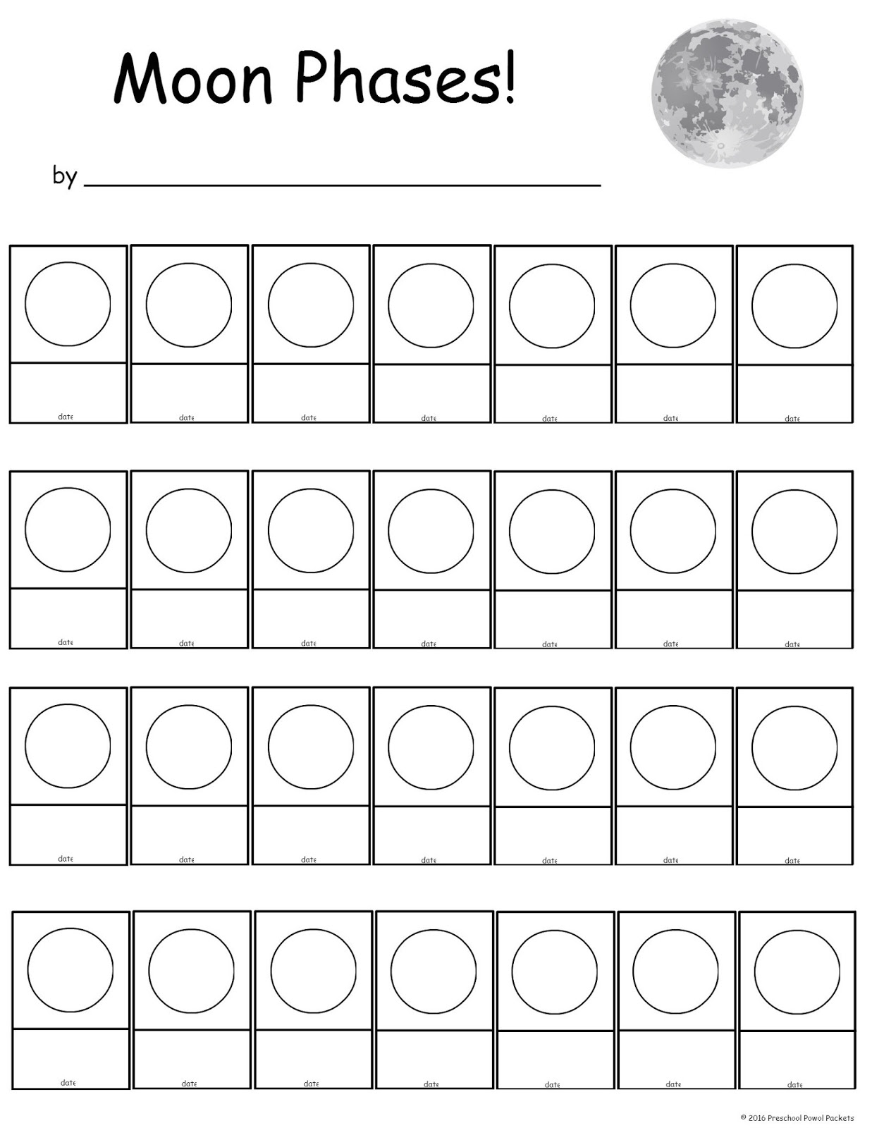Free Moon Phase Tracking Printable Preschool Powol