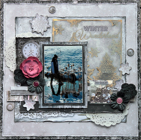 Winter Wonderland Scrapbook Page by Ulrika Wandler using BoBunny Winter Wishes Collection