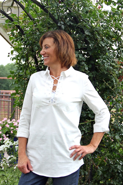 McCall's 7391 with eyelets and cording made from Style Maker Fabrics