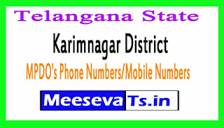 Karimnagar District MPDO's Phone Numbers/Mobile Numbers Telangana-State