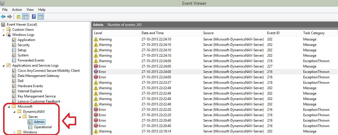 Microsoft Dynamics NAV 2016 - New In Event Viewer