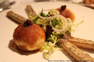 Soft Boiled Eggs Rolled in Breadcrumbs with Truffled Butter Toasts at Le Violon d'Ingres