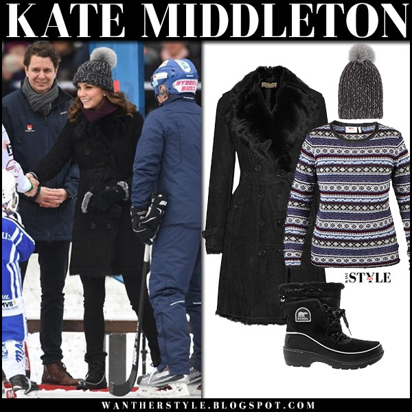 Kate Middleton in black shearling coat burberry, with black snow sorel boots and grey fur pom beanie eugenia kim winter fashion royal visit january 2018
