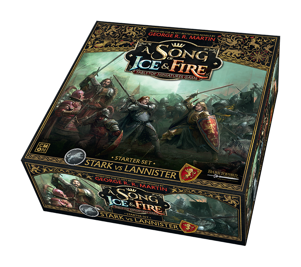 cmon announces a song of ice and fire tabletop miniatures game a song of ice and fire miniatures game stark vs lannister starter box