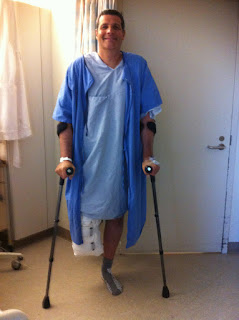 male amputee on crutches