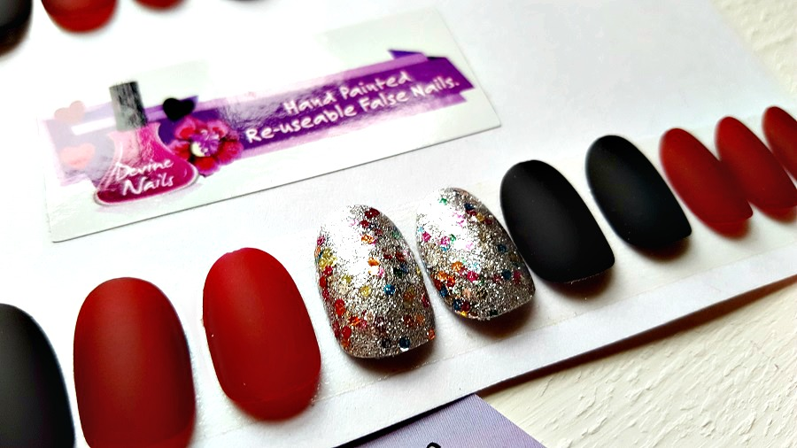 Handpainted false nails, The Style Guide Blog, UK beauty blog